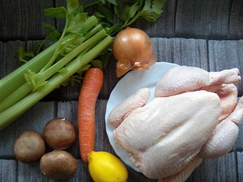 Zutaten für ein Hühnerfrikassee