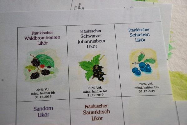 Likör-Etiketten Aquarellmalerei