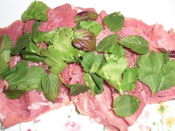 Foto Schweineroulade mit Pfefferminze und Korinaderblätter belegt auf Teller