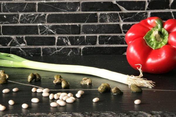 Foto Zutaten für Bohnen-Paprika-Salat