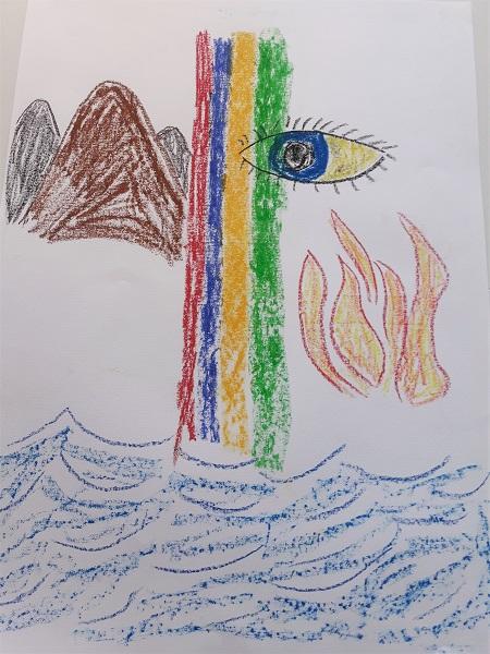 Bild mit Regenbogen, Berge und Meer